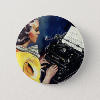 Vintage Business Executive Secretary Typing Letter Pinback Button