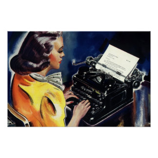 Vintage Business Executive Secretary Typing Letter Poster