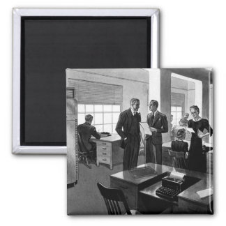 Vintage Business, Executives in an Office 2 Inch Square Magnet
