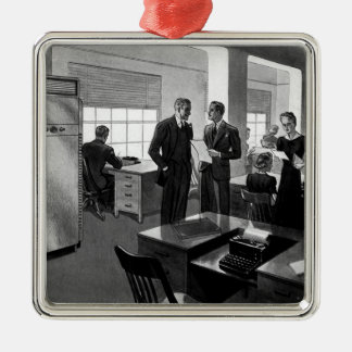 Vintage Business, Executives in an Office Metal Ornament