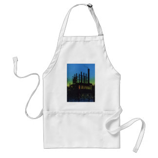 Vintage Business, Factory at Sunset on River Adult Apron