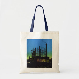 Vintage Business, Factory at Sunset on River Bags