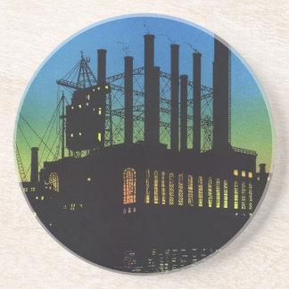 Vintage Business, Factory at Sunset on River Beverage Coasters