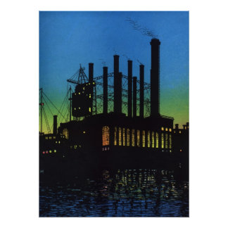 Vintage Business, Factory at Sunset on River Print