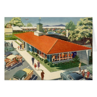 Vintage Business, Family Restaurant with Customers Greeting Card