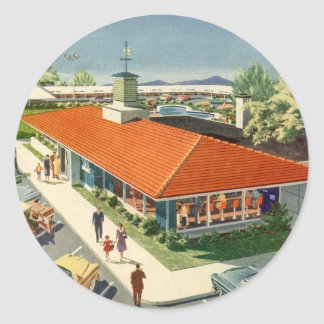 Vintage Business, Family Restaurant with Customers Classic Round Sticker