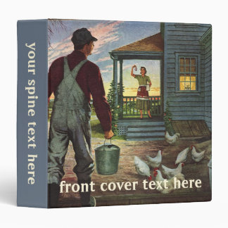 Vintage Business, Farm with Farmer and Chickens 3 Ring Binder