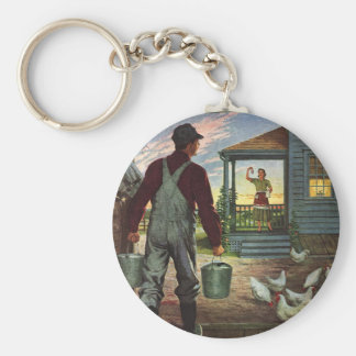 Vintage Business, Farm with Farmer and Chickens Keychain