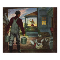 Vintage Business, Farm with Farmer and Chickens Poster