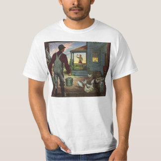 Vintage Business, Farm with Farmer and Chickens T-Shirt