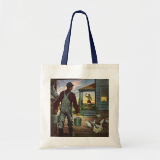 Vintage Business, Farm with Farmer and Chickens Tote Bag