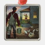 Vintage Business, Farmer Working on the Farm Square Metal Christmas Ornament