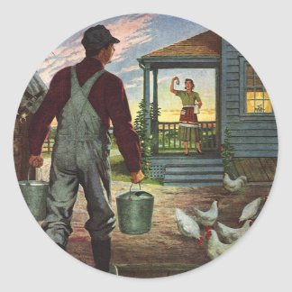 Vintage Business, Farmer Working on the Farm Classic Round Sticker