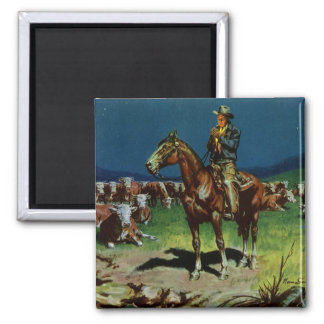 Vintage Business Farming, Cattle Rancher Cowboy 2 Inch Square Magnet