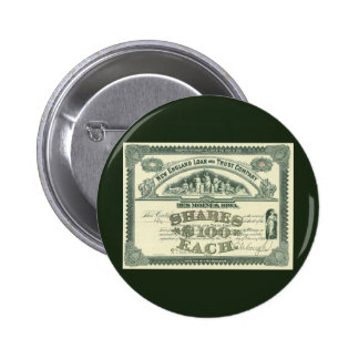Vintage Business Finance Capital Stock Certificate 2 Inch Round Button