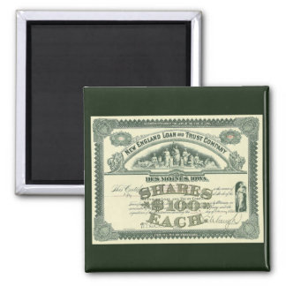 Vintage Business Finance Capital Stock Certificate 2 Inch Square Magnet