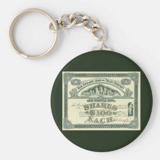 Vintage Business Finance Capital Stock Certificate Basic Round Button Keychain