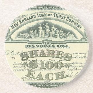 Vintage Business Finance Capital Stock Certificate Beverage Coasters