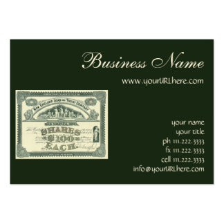 Vintage Business Finance Capital Stock Certificate Large Business Cards (Pack Of 100)