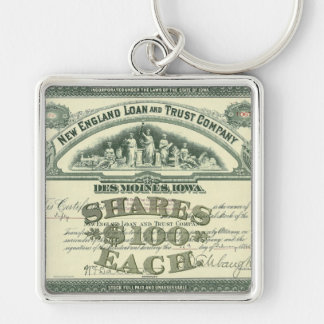 Vintage Business Finance Capital Stock Certificate Silver-Colored Square Keychain
