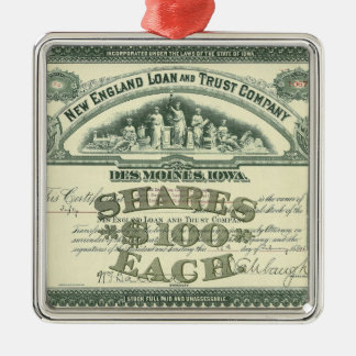 Vintage Business Finance Capital Stock Certificate Square Metal Christmas Ornament