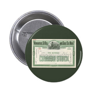 Vintage Business Finance, Common Stock Certificate 2 Inch Round Button