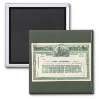 Vintage Business Finance, Common Stock Certificate 2 Inch Square Magnet
