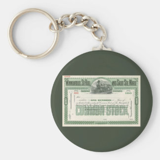 Vintage Business Finance, Common Stock Certificate Basic Round Button Keychain