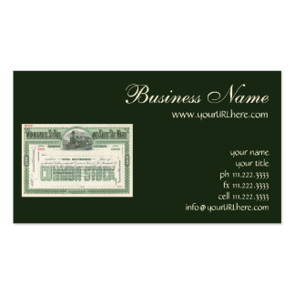Vintage Business Finance, Common Stock Certificate Business Card