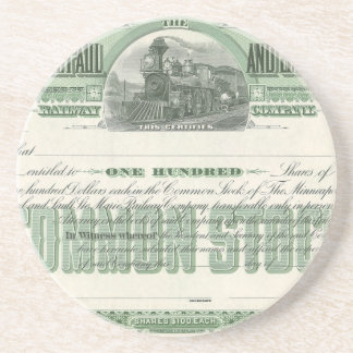 Vintage Business Finance, Common Stock Certificate Drink Coasters