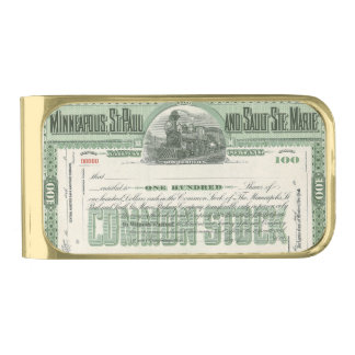 Vintage Business Finance, Common Stock Certificate Gold Finish Money Clip