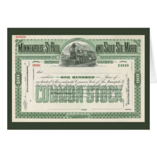 Vintage Business Finance, Common Stock Certificate Greeting Card