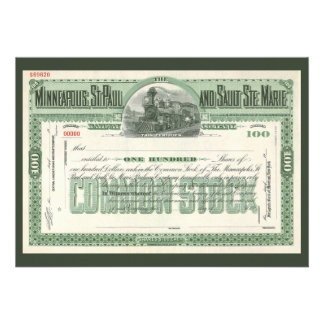 Vintage Business Finance Common Stock Certificate Announcements