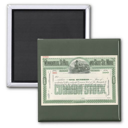 Vintage Business Finance Common Stock Certificate Magnet