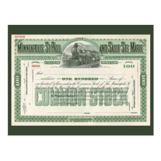 Vintage Business Finance, Common Stock Certificate Postcard