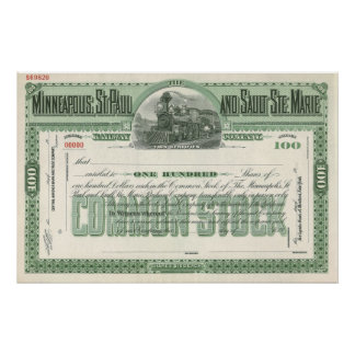 Vintage Business Finance, Common Stock Certificate Poster