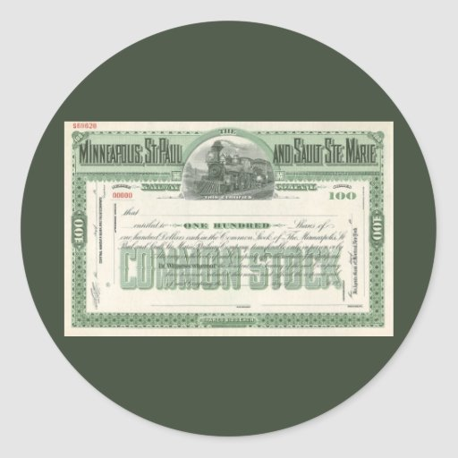 Vintage Business Finance, Common Stock Certificate Classic Round Sticker