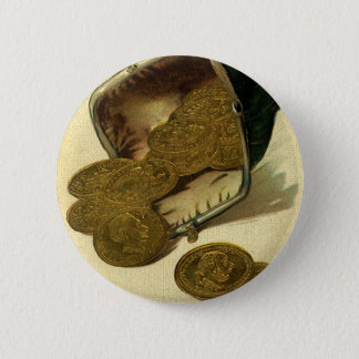 Vintage Business Finance, Gold Coin Money in Purse Pinback Button