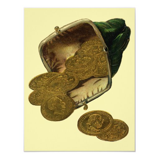 Vintage Business Finance Money, Gold Coin in Purse 4.25x5.5 Paper Invitation Card