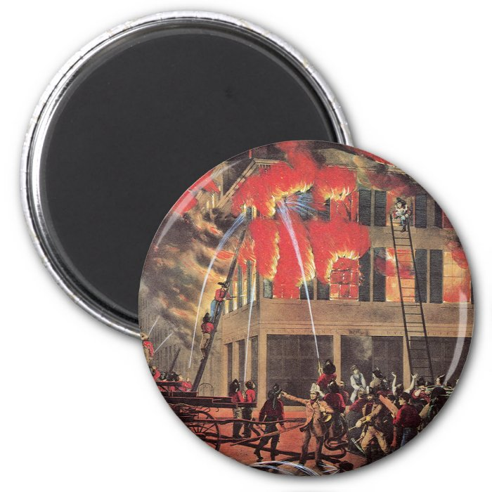 Vintage Business, Fire Fighters Fireman Firemen 2 Inch Round Magnet