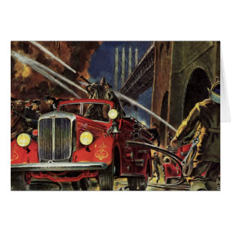 Vintage Business, Fire Trucks Firemen Firefighters Card