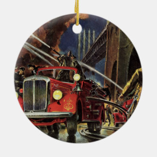 Vintage Business, Fire Trucks Firemen Firefighters Ceramic Ornament