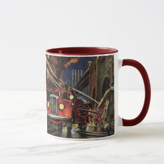 Vintage Business, Fire Trucks Firemen Firefighters Mug