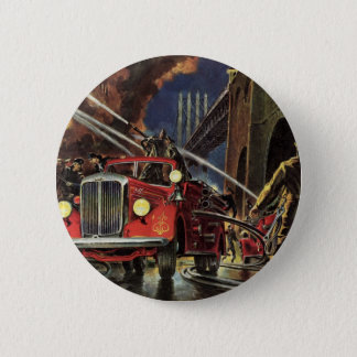 Vintage Business, Fire Trucks Firemen Firefighters Pinback Button