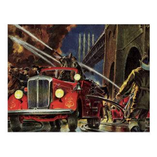 Vintage Business, Fire Trucks Firemen Firefighters Postcard