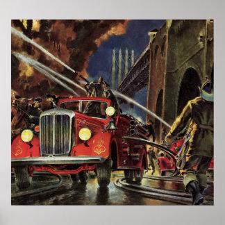 Vintage Business, Fire Trucks Firemen Firefighters Poster