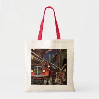 Vintage Business, Fire Trucks Firemen Firefighters Tote Bag