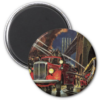Vintage Business, Firemen Firefighters Fire Trucks 2 Inch Round Magnet