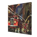 Vintage Business, Firemen Firefighters Fire Trucks Canvas Print