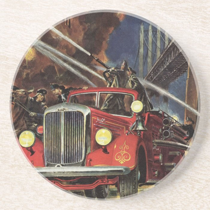 Vintage Business, Firemen Firefighters Fire Trucks Coaster